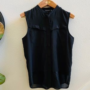 TROUVE black sleeveless blouse top zip S